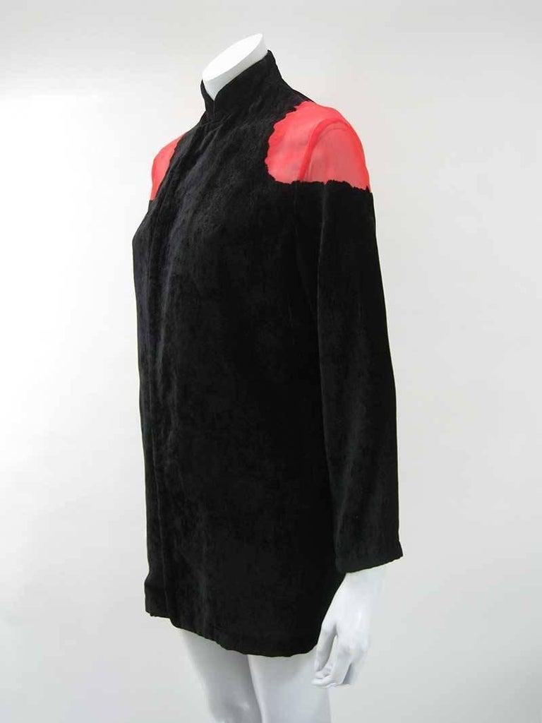 Yohji Yamamoto Noir Black & Red Crushed Velour Blazer  4