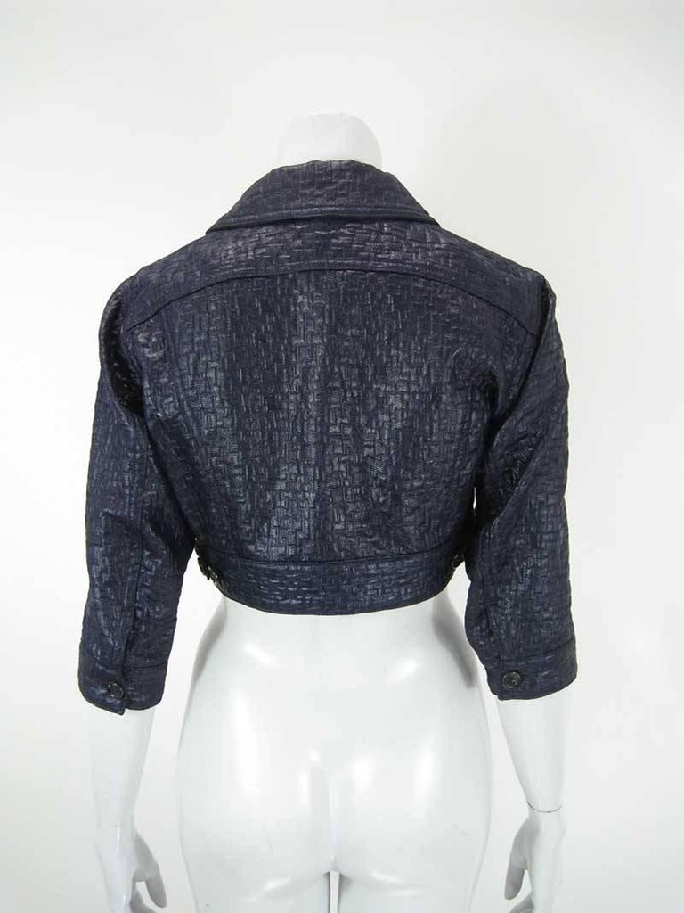 Women's Comme des Garcons Cropped Navy Jacket For Sale