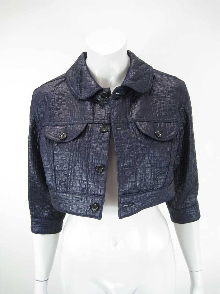 Comme des Garcons Cropped Navy Jacket In Excellent Condition For Sale In San Francisco, CA