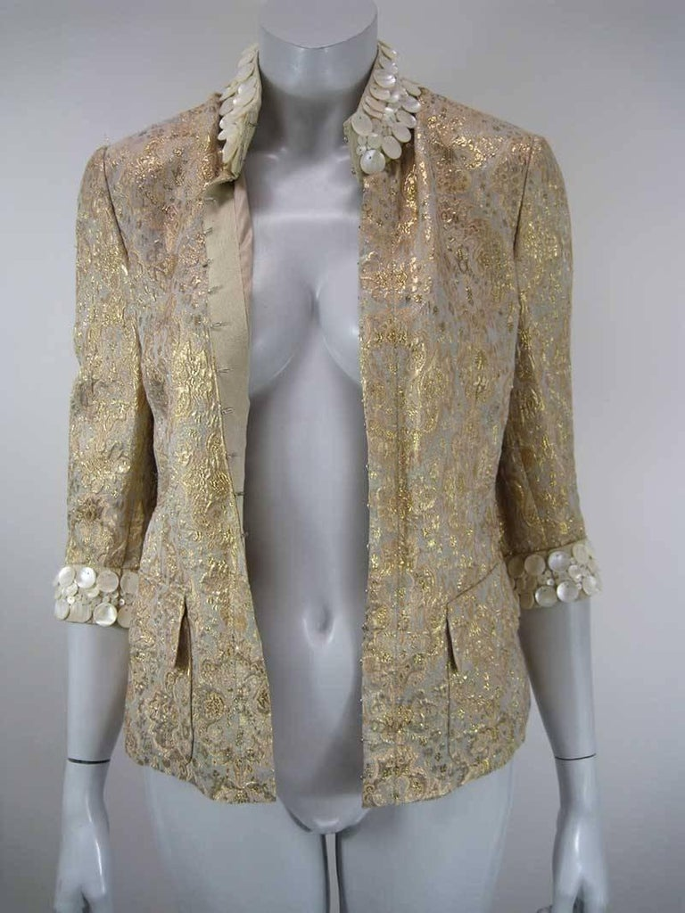 Dolce & Gabbana Gold Brocade Embellished Jacket In Excellent Condition For Sale In San Francisco, CA