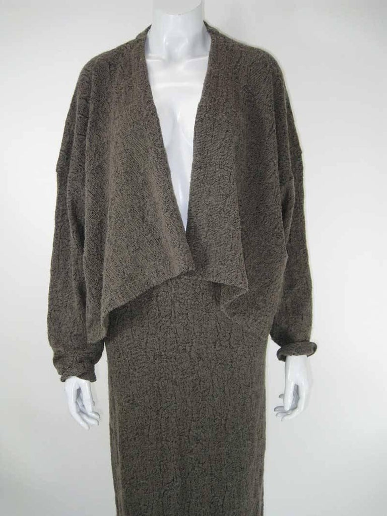 Black Plantation by Issey Miyake Textured Woven Jacket and Skirt For Sale