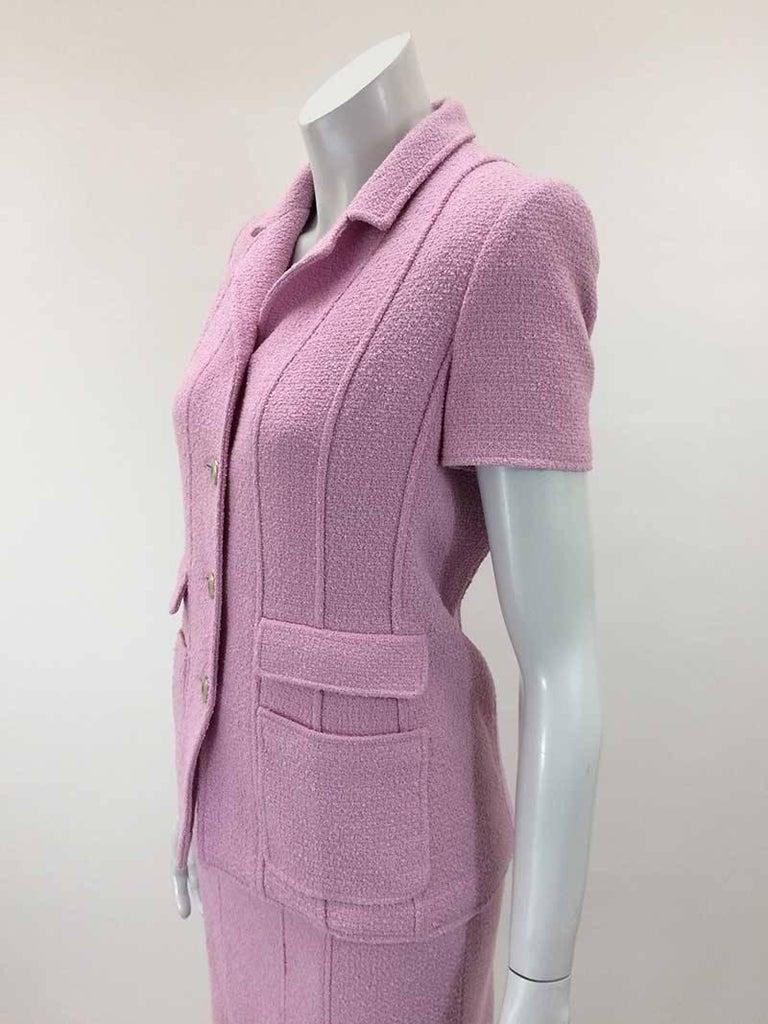 Chanel Boutique Lavender Wool Boucle Suit 4