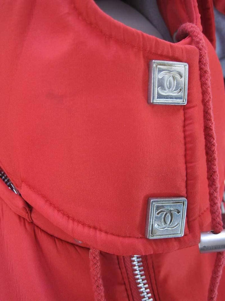 Chanel Red Puffer Ski Jacket Parka In Fair Condition For Sale In San Francisco, CA