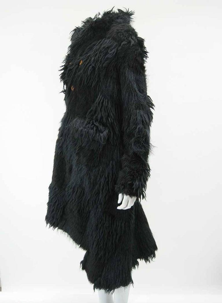 Black Comme des Garcons Faux Fur Asymmetrical Coat 2002  For Sale