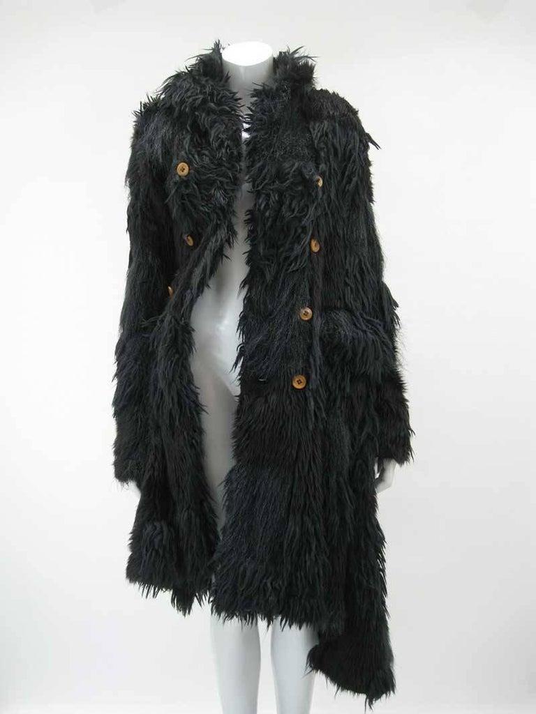 Women's Comme des Garcons Faux Fur Asymmetrical Coat 2002  For Sale