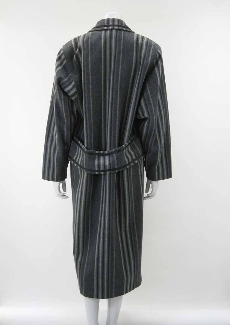 Black Gianni Versace Menswear Inspired Striped Wool Coat For Sale