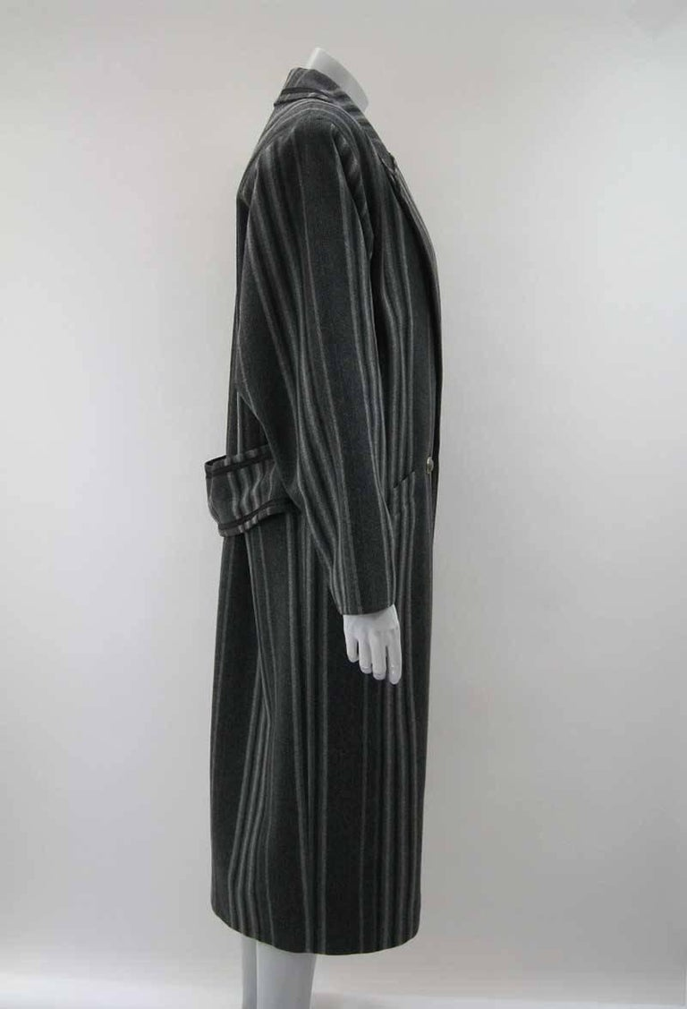 Gianni Versace Menswear Inspired Striped Wool Coat In Good Condition For Sale In San Francisco, CA