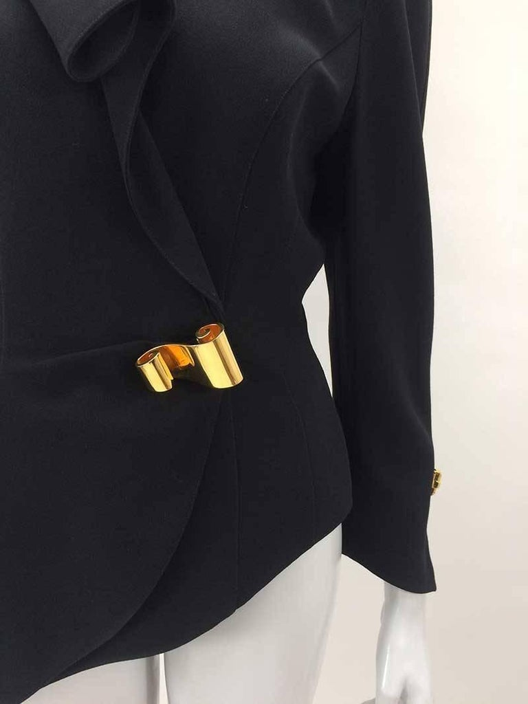 Thierry Mugler Black Asymmetrical Folded Collar Jacket In Excellent Condition For Sale In San Francisco, CA