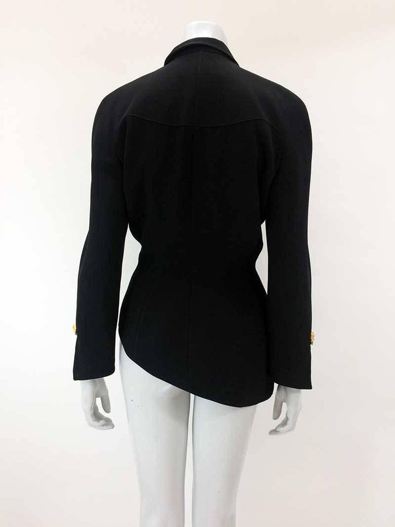 Thierry Mugler Black Asymmetrical Folded Collar Jacket For Sale 1