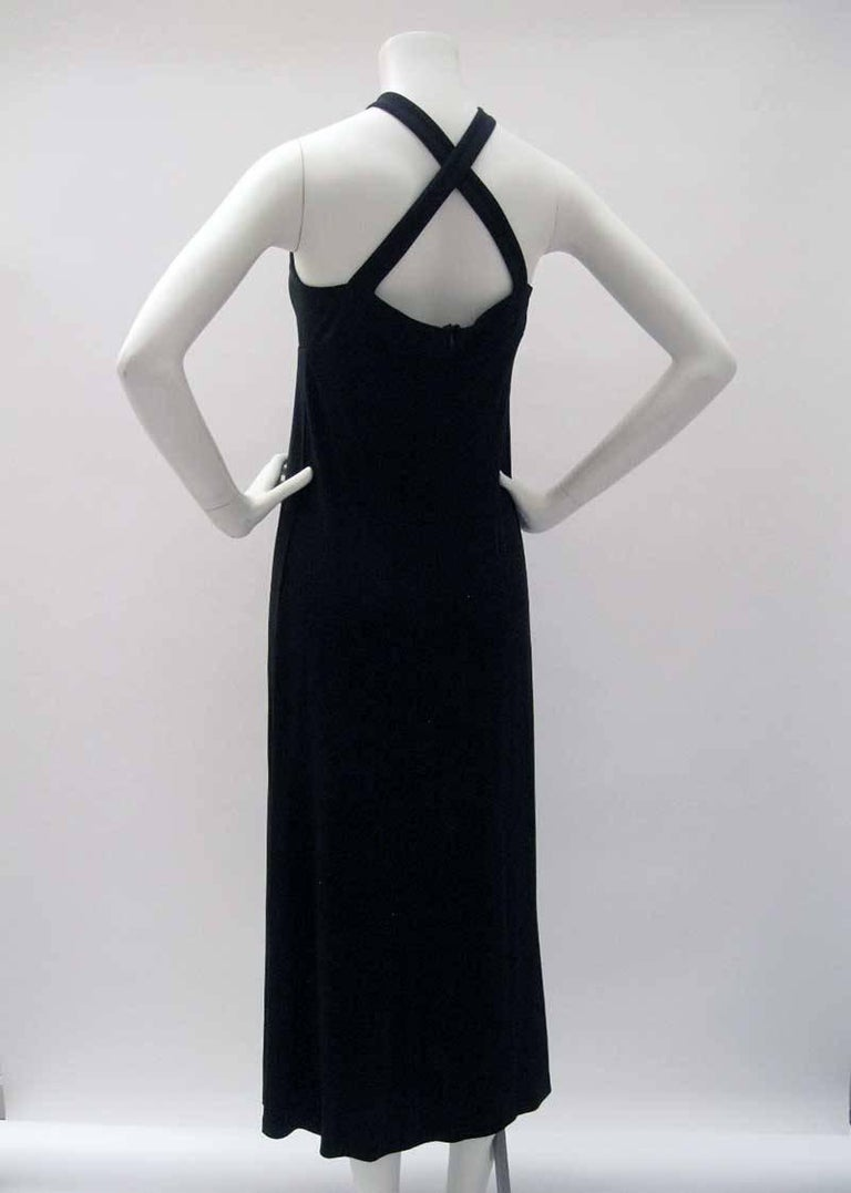 Gianfranco Ferre Black Jersey Cocktail Dress In Excellent Condition For Sale In San Francisco, CA