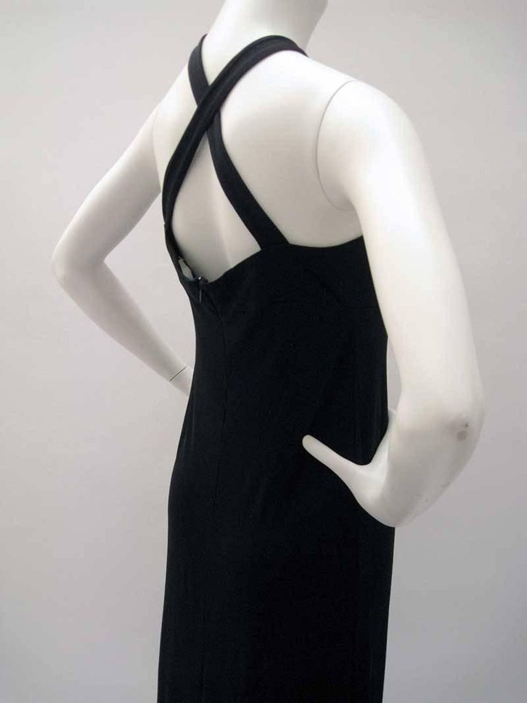 Gianfranco Ferre Black Jersey Cocktail Dress For Sale 1