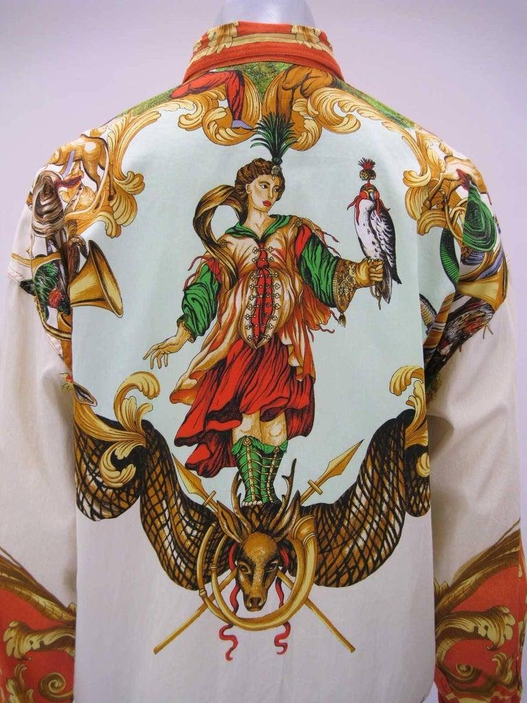 Versus Gianni Versace Baroque Printed Goddess Bird Motif Shirt For Sale 1