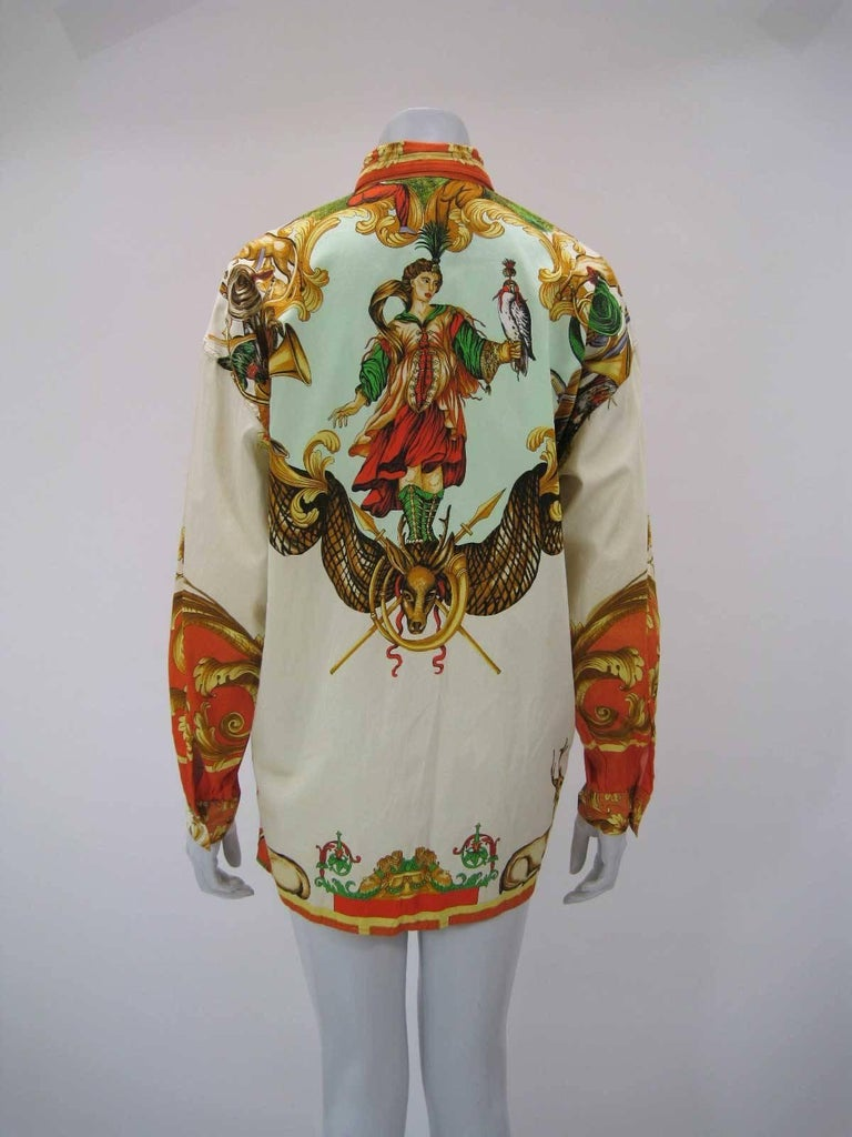 Versus Gianni Versace Baroque Printed Goddess Bird Motif Shirt For Sale 2