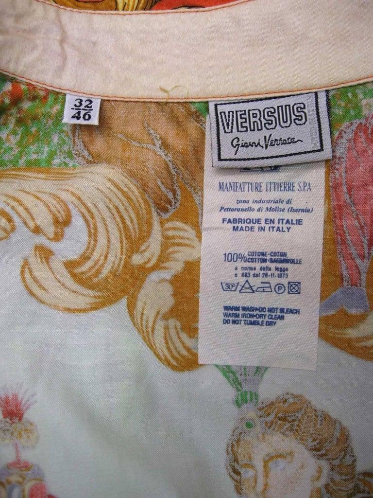 Versus Gianni Versace Baroque Printed Goddess Bird Motif Shirt For Sale 4