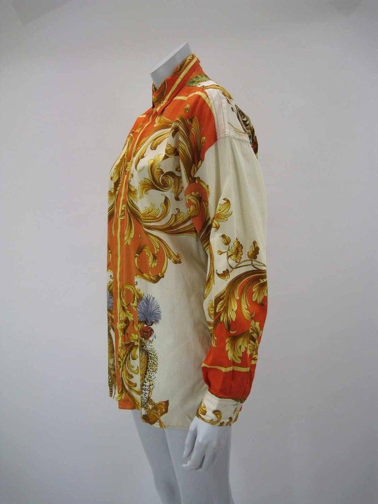 Versus Gianni Versace Baroque Printed Goddess Bird Motif Shirt For Sale 3