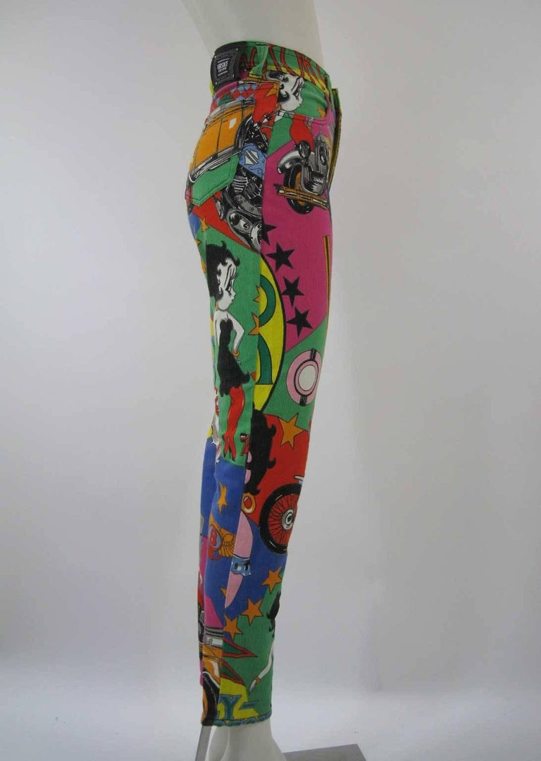 Versace Jeans Couture Cartoon Betty Boop Harley Novelty Logo Skinny Jeans 6