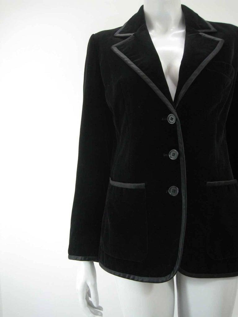 Yves Saint Laurent Rive Gauche Black Velvet Blazer  In Good Condition For Sale In San Francisco, CA