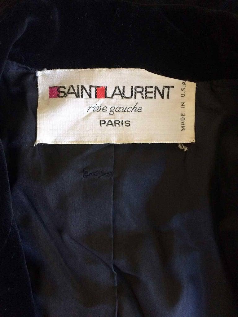 Yves Saint Laurent Rive Gauche Black Velvet Blazer  For Sale 1