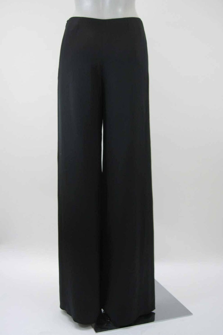 Chanel Black Silk Statin Palazzo Evening Pants For Sale 1