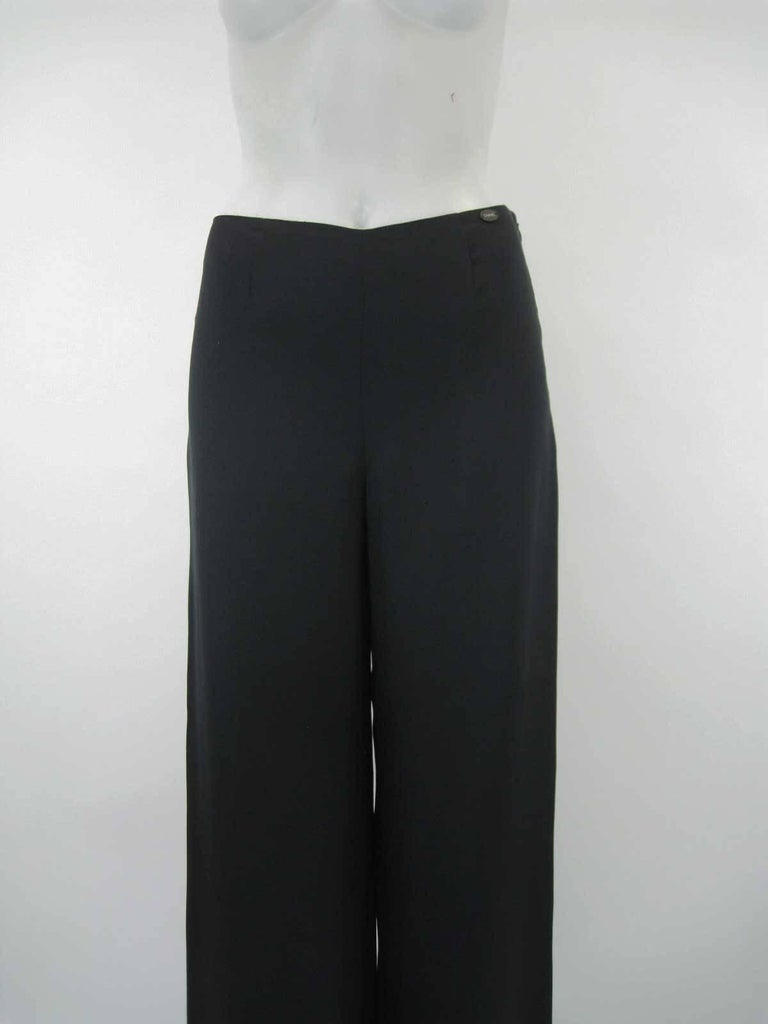 Chanel Black Silk Statin Palazzo Evening Pants In Excellent Condition For Sale In San Francisco, CA