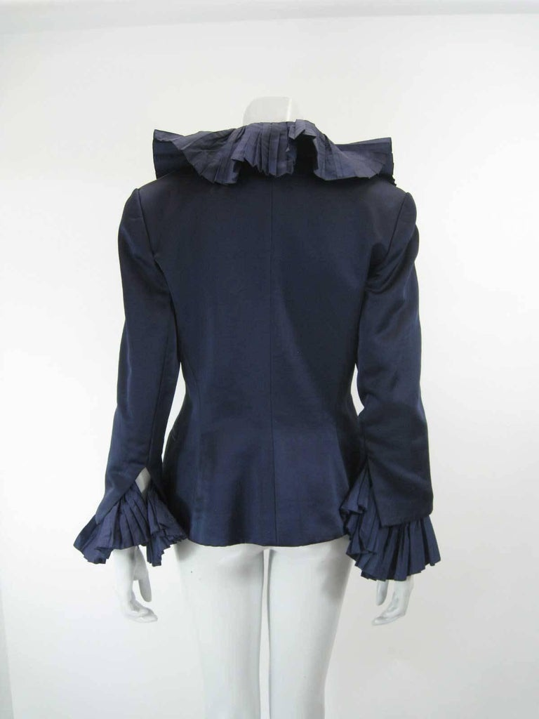 Christian Dior Blue Satin Evening Jacket with Large Pleated Collar In Fair Condition For Sale In San Francisco, CA