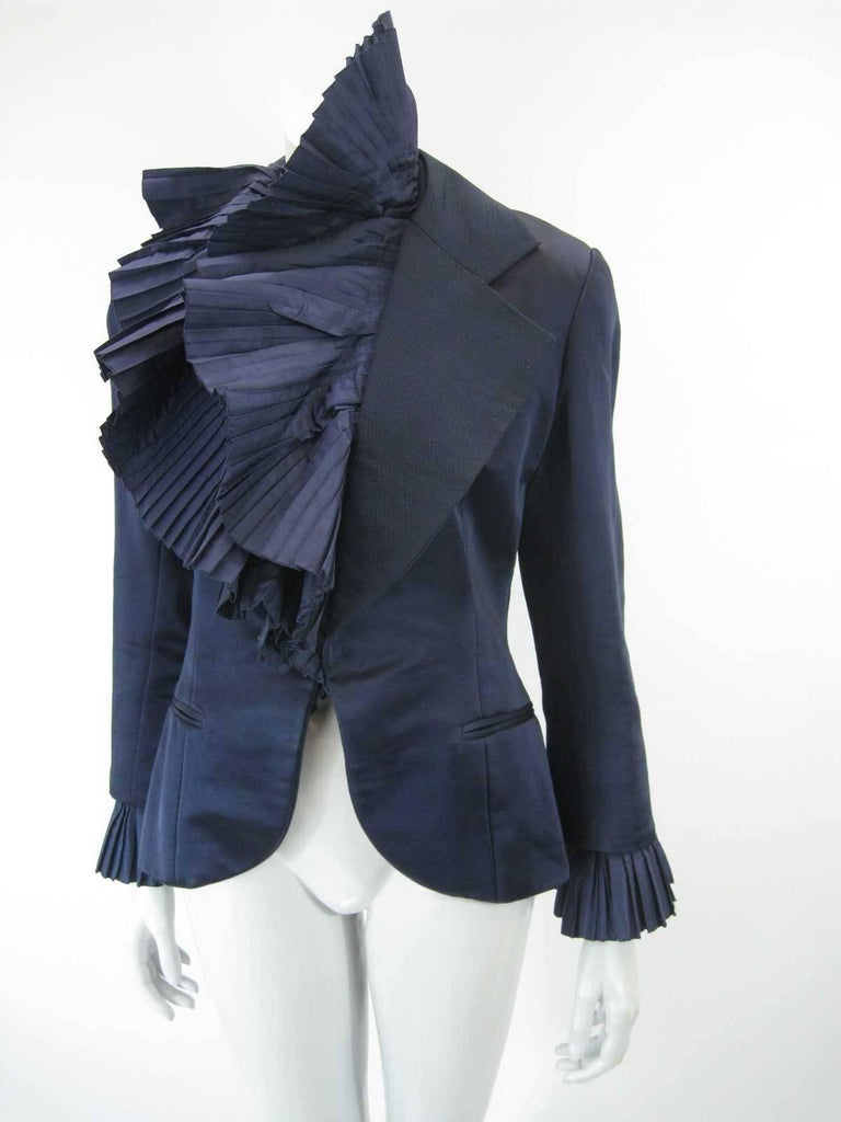 Black Christian Dior Blue Satin Evening Jacket with Large Pleated Collar For Sale