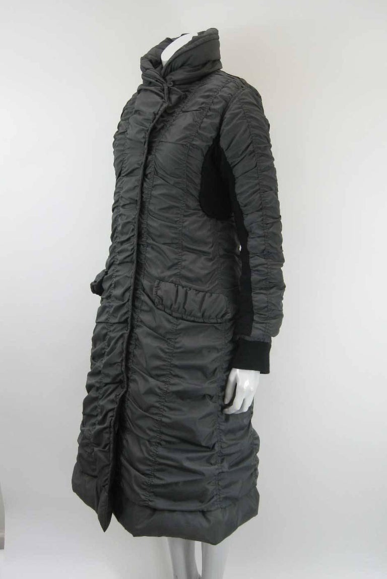 Black Issey Miyake Ruched Down Long Puffer Jacket  For Sale