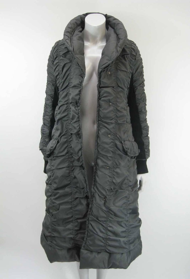 Issey Miyake Ruched Down Long Puffer Jacket  In Good Condition For Sale In San Francisco, CA