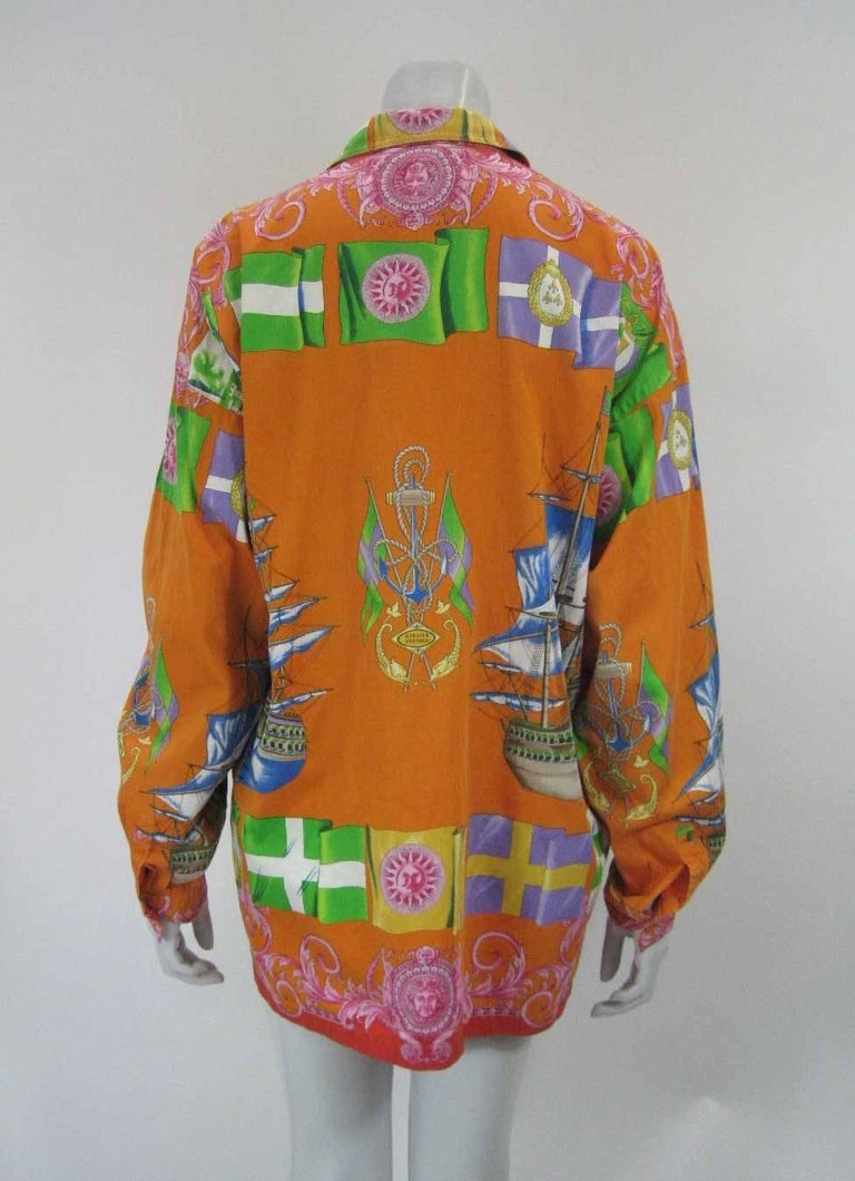 Women's or Men's Gianni Versace Printed Sailboat Suns Motif Shirt For Sale