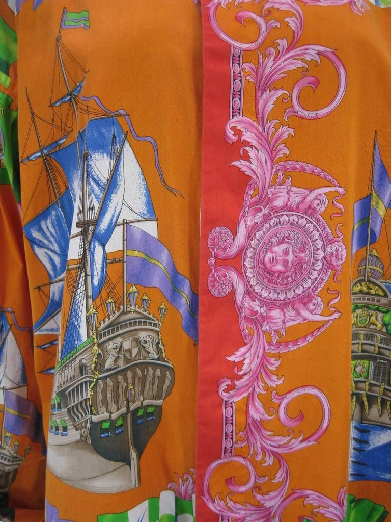 Gianni Versace Printed Sailboat Suns Motif Shirt In Good Condition For Sale In San Francisco, CA