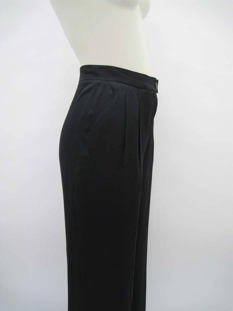 Chanel Black Silk Cropped Cuffed Wide Leg Pants In Excellent Condition For Sale In San Francisco, CA