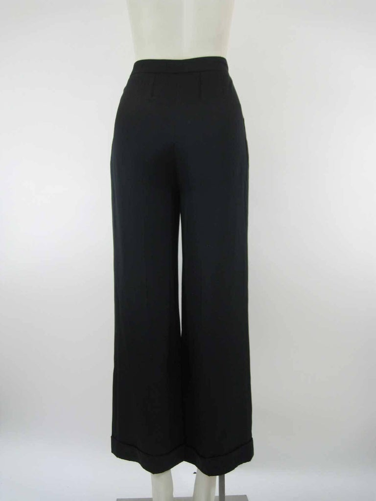 Chanel Black Silk Cropped Cuffed Wide Leg Pants For Sale 1