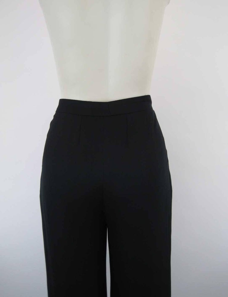 Chanel Black Silk Cropped Cuffed Wide Leg Pants For Sale 2