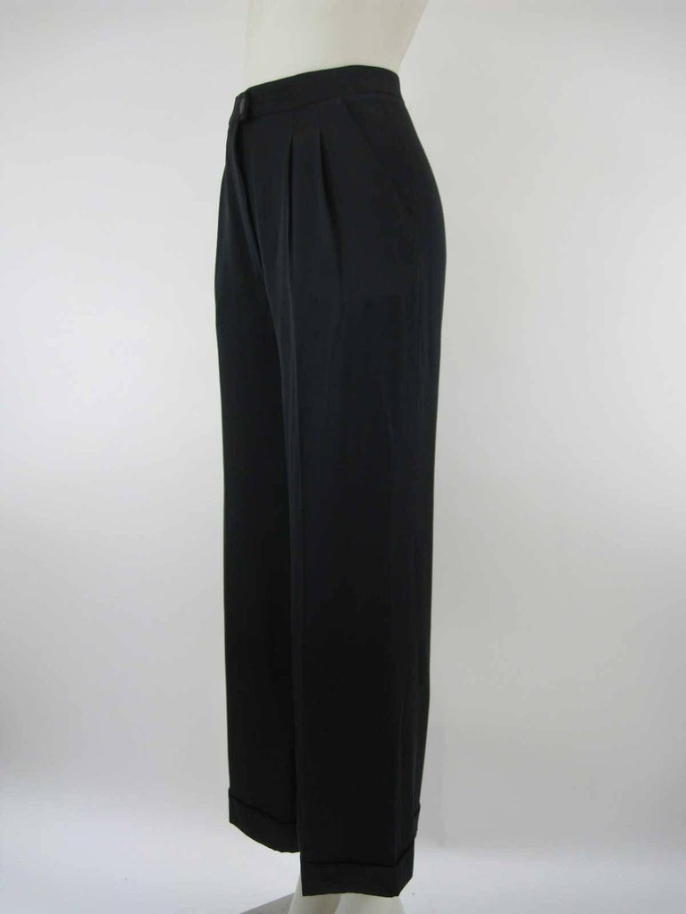 Women's Chanel Black Silk Cropped Cuffed Wide Leg Pants For Sale