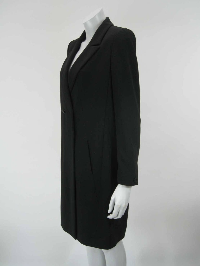 Chanel Boutique Black Long Double Breasted Evening Jacket. In Excellent Condition For Sale In San Francisco, CA