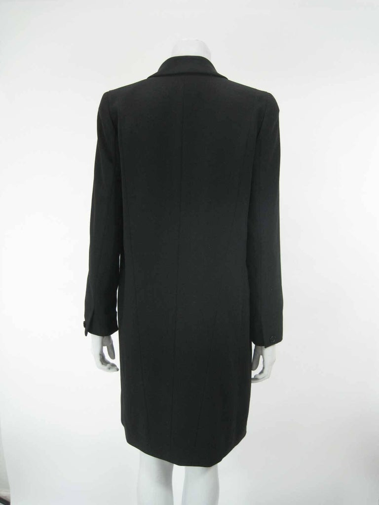 Chanel Boutique Black Long Double Breasted Evening Jacket. For Sale 2