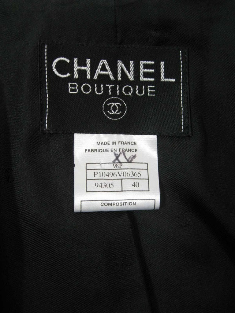 Chanel Boutique Black Long Double Breasted Evening Jacket. For Sale 3