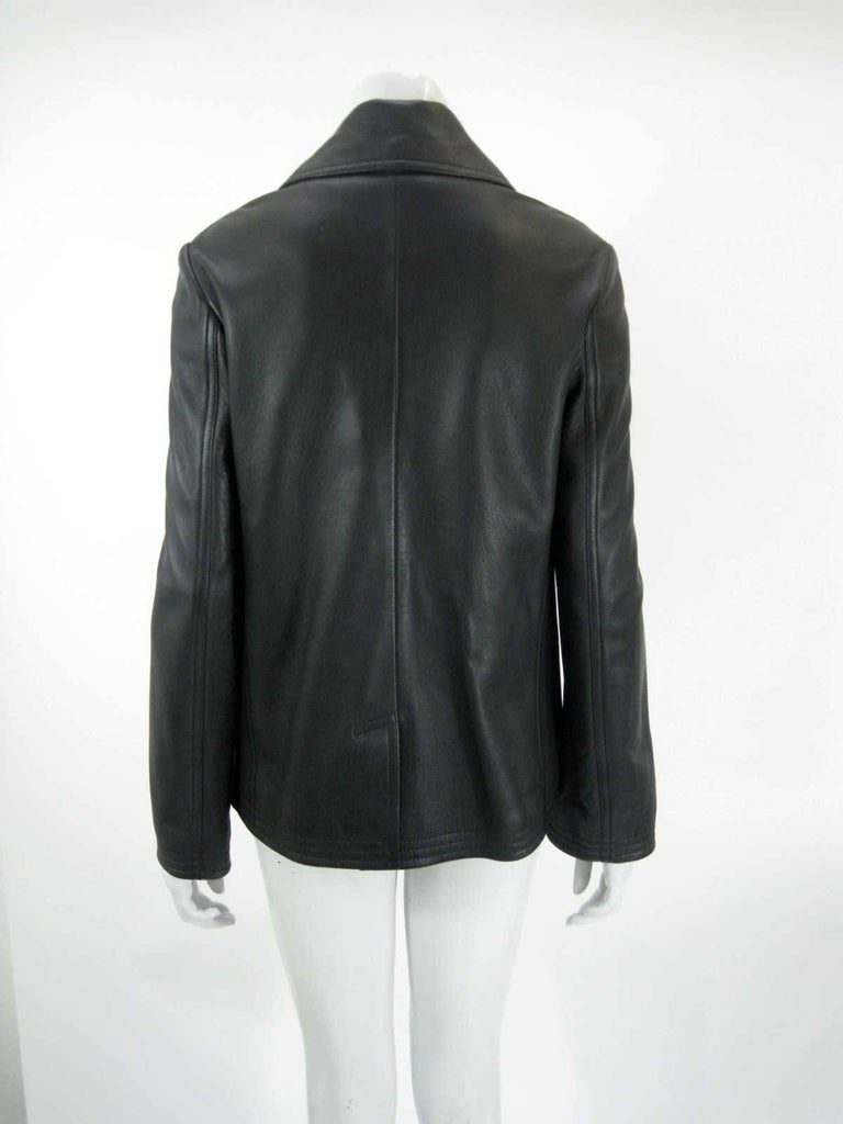 Balenciaga Leather Double Breasted Jacket For Sale 2