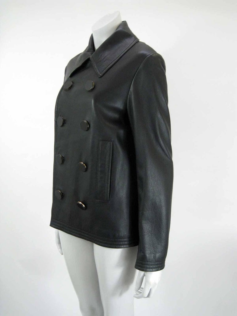 Balenciaga Leather Double Breasted Jacket For Sale 1