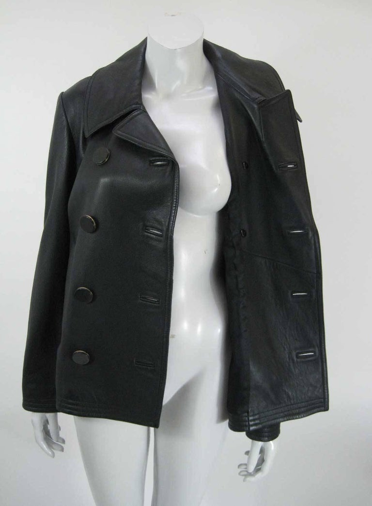 Women's Balenciaga Leather Double Breasted Jacket For Sale