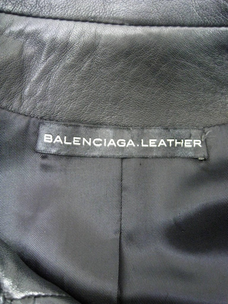 Balenciaga Leather Double Breasted Jacket For Sale 4