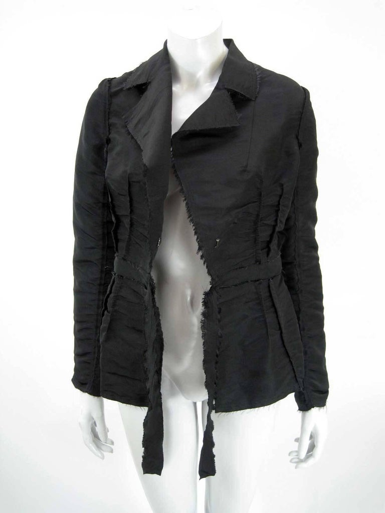 Black Lanvin 2005 Textured Taffeta Frayed Silk Wrap Jacket For Sale