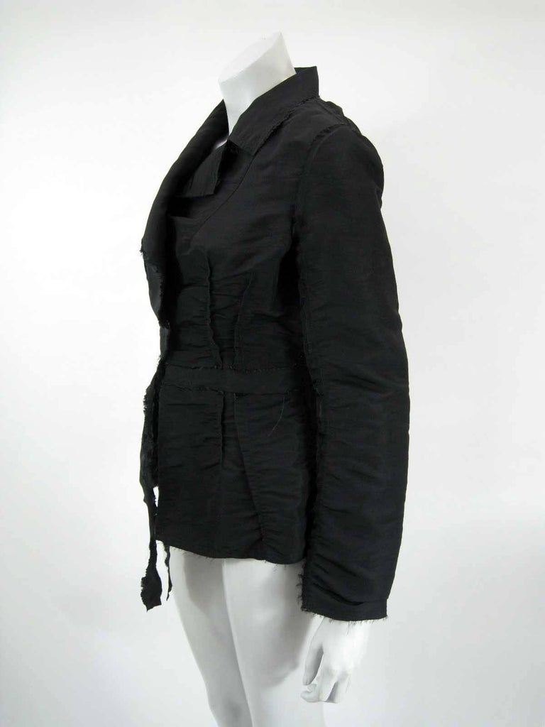Lanvin 2005 Textured Taffeta Frayed Silk Wrap Jacket In Excellent Condition For Sale In San Francisco, CA
