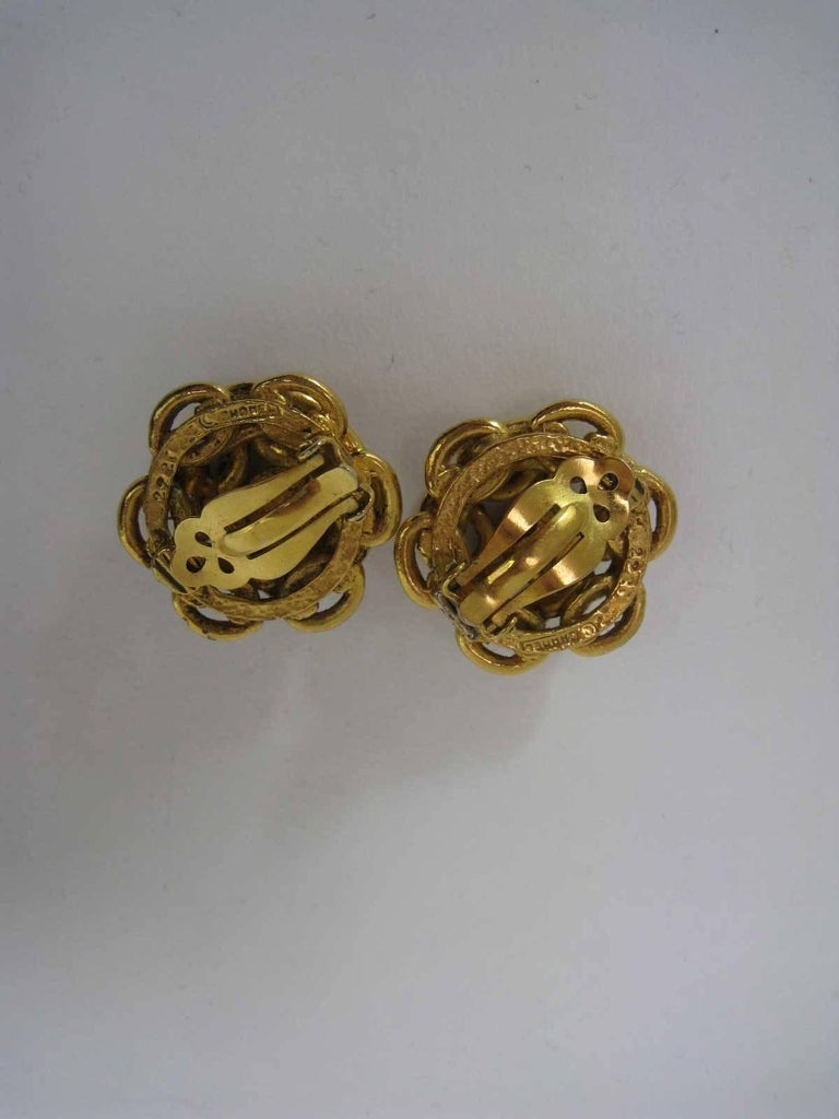 Vintage Chanel Interlocking CC Chain Earrings  In Excellent Condition For Sale In San Francisco, CA