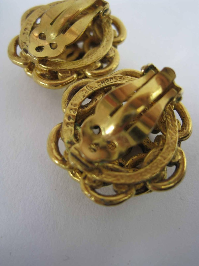 Vintage Chanel Interlocking CC Chain Earrings  For Sale 2