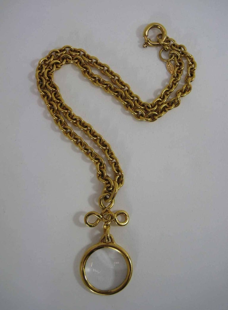 1993 Chanel Long Chain Necklace Magnifying Glass  For Sale 3