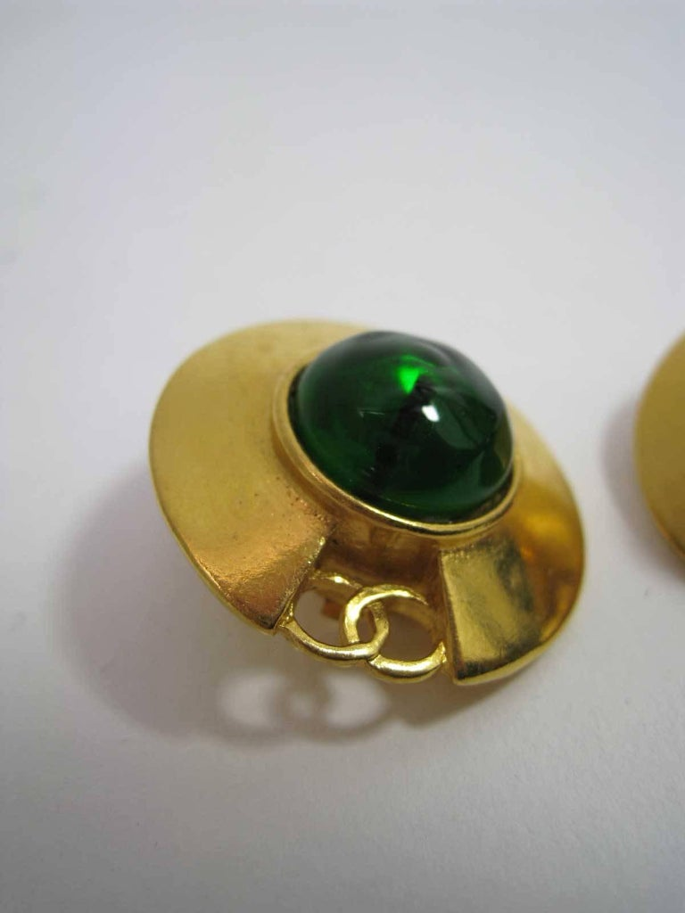 Contemporary Vintage Chanel CC Saucer Earrings w Green Glass  For Sale