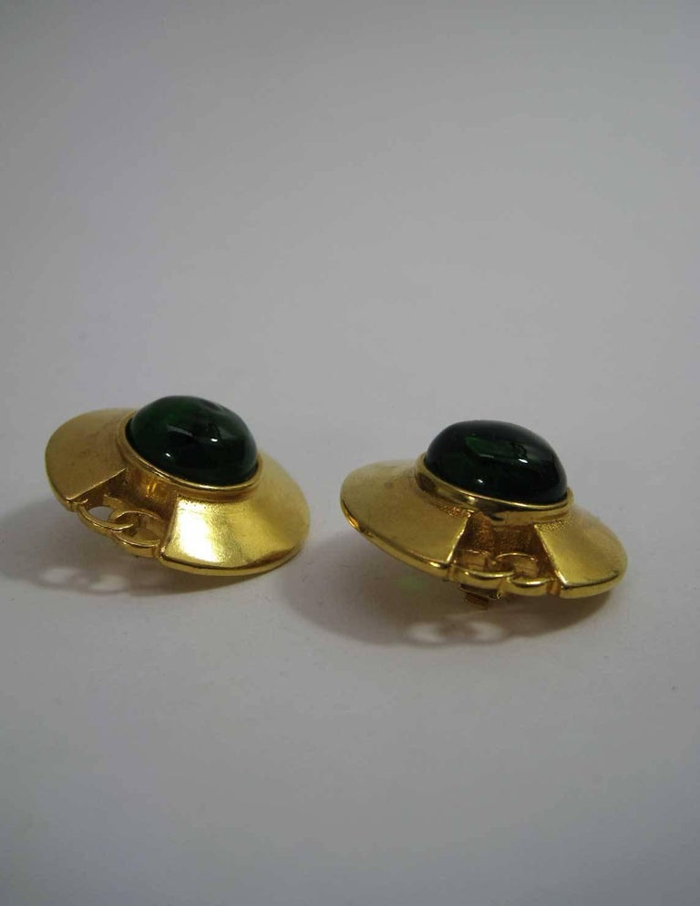 Vintage Chanel CC Saucer Earrings w Green Glass  For Sale 1