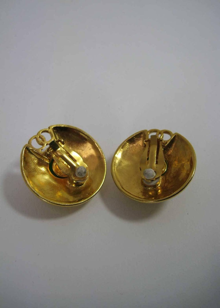 Women's Vintage Chanel CC Saucer Earrings w Green Glass  For Sale