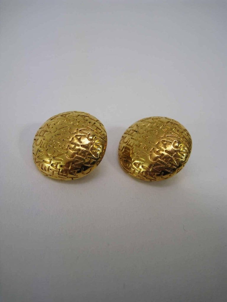 Vintage Chanel Logo Lettering Round Earrings For Sale 6